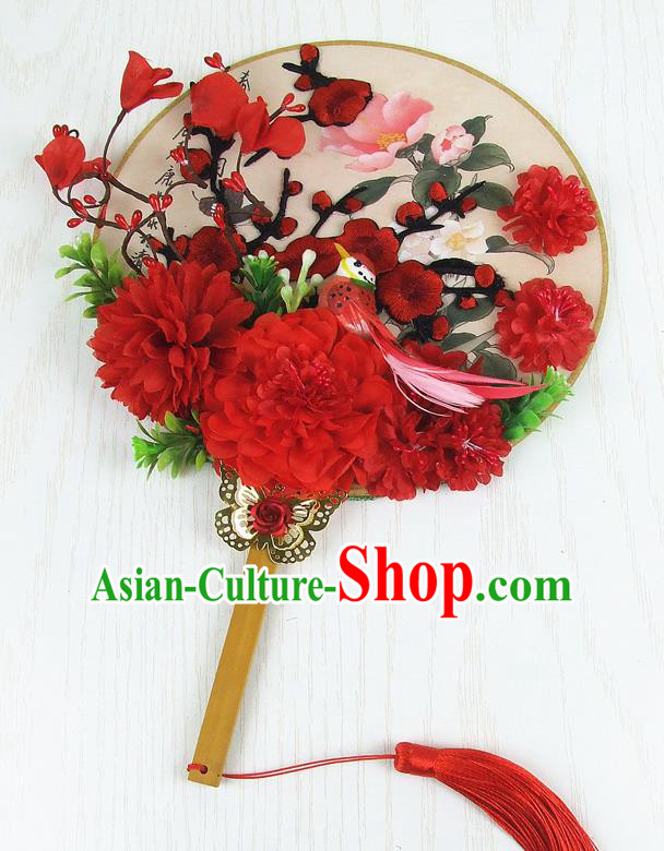 Chinese Traditional Wedding Embroidered Round Fans Ancient Bride Handmade Red Peony Palace Fans for Women