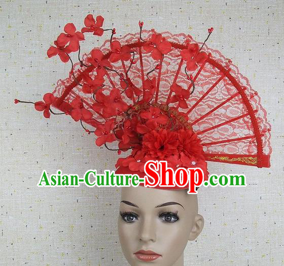Top Grade Chinese Handmade Red Lace Flowers Headdress Traditional Hair Accessories for Women