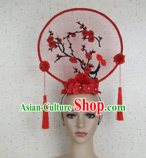 Top Grade Chinese Handmade Red Embroidered Plum Blossom Headdress Traditional Hair Accessories for Women