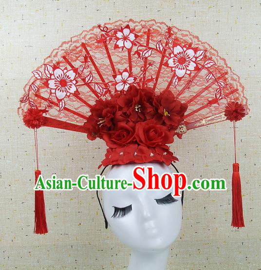 Top Grade Chinese Handmade Red Lace Hair Clasp Headdress Traditional Hair Accessories for Women