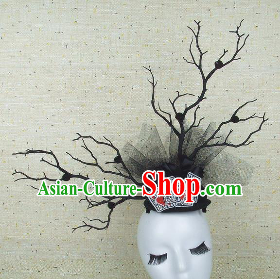 Top Grade Handmade Black Branch Hair Accessories Halloween Top Hat Cosplay Headwear for Women