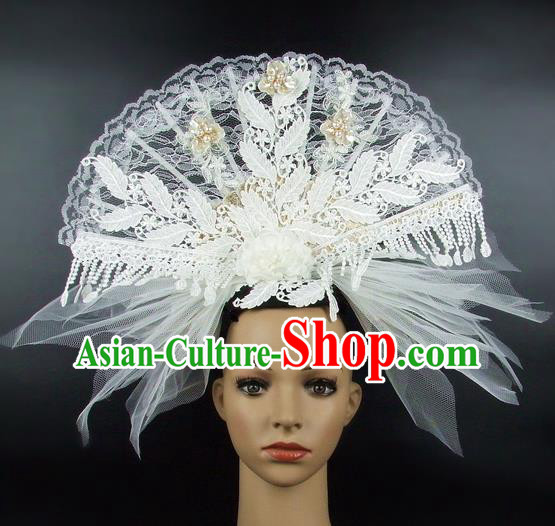 Top Grade Handmade Chinese White Lace Palace Hair Clasp Traditional Hair Accessories Headdress for Women