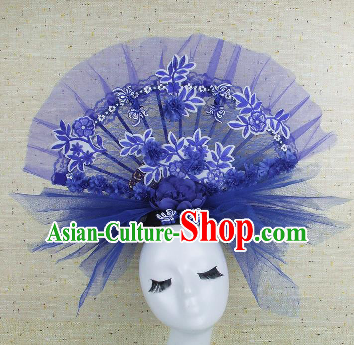 Top Grade Handmade Chinese Blue Lace Palace Hair Clasp Traditional Hair Accessories Headdress for Women