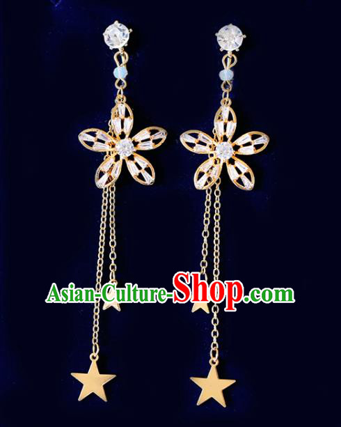 Top Grade Handmade Baroque Crystal Flower Earrings Bride Jewelry Accessories for Women