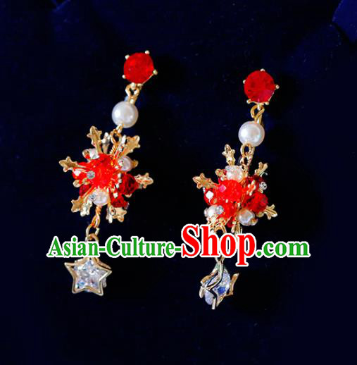 Top Grade Handmade Baroque Red Beads Earrings Bride Jewelry Accessories for Women