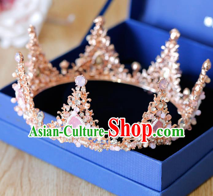 Top Grade Handmade Bride Baroque Pink Royal Crown Princess Hair Accessories for Women