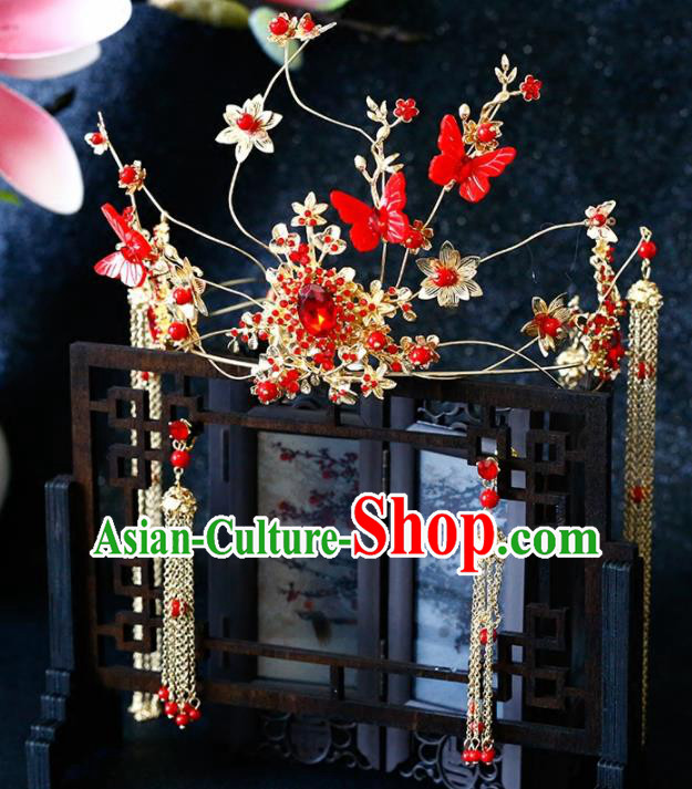 Chinese Traditional Wedding Red Butterfly Phoenix Coronet Ancient Bride Handmade Hair Accessories for Women