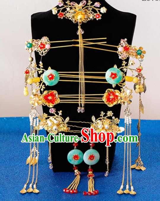 Chinese Traditional Wedding Jade Phoenix Coronet Ancient Bride Handmade Hair Accessories for Women