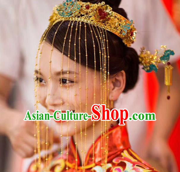 Chinese Traditional Wedding Blueing Phoenix Coronet Ancient Bride Handmade Hair Accessories for Women