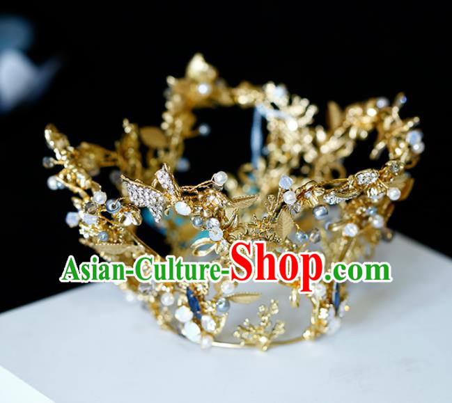 Top Grade Handmade Bride Golden Crystal Round Royal Crown Baroque Princess Hair Accessories for Women