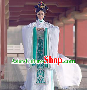 Chinese Traditional Palace Hanfu Dress Ancient Qin Dynasty Imperial Concubine Embroidered Costumes and Headpiece Complete Set