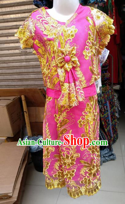Asian Chinese Ethnic Costumes Traditional Dai Nationality Folk Dance Rosy Dress for Kids