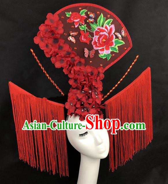 Chinese Traditional Palace Exaggerated Headdress Catwalks Red Peony Tassel Hair Accessories for Women