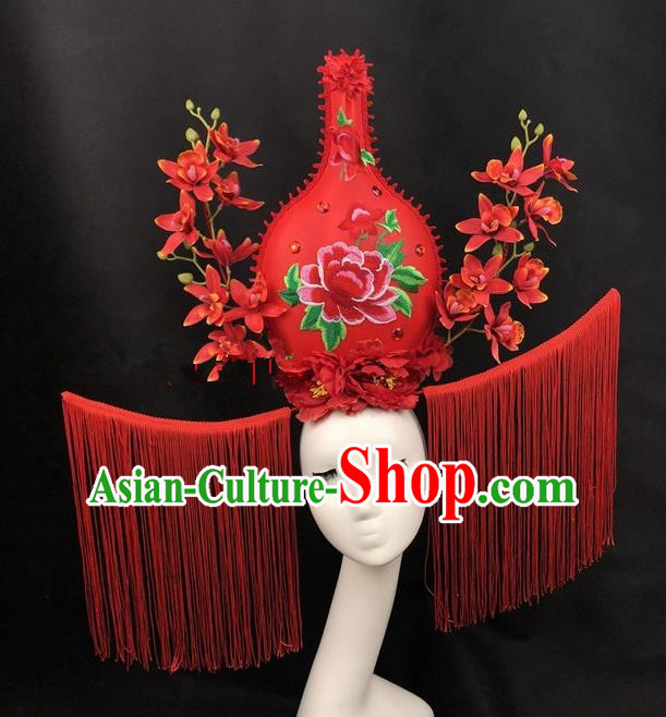 Chinese Traditional Palace Exaggerated Headdress Catwalks Red Flowers Hair Accessories for Women