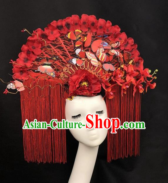 Chinese Traditional Palace Exaggerated Headdress Catwalks Red Tassel Butterfly Hair Accessories for Women