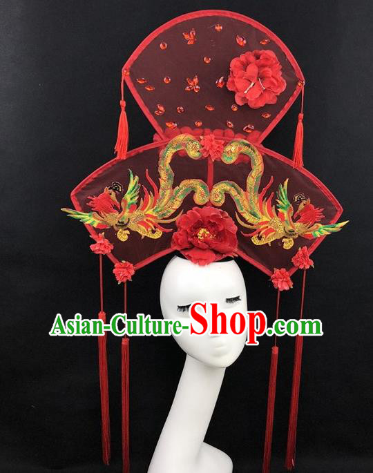 Chinese Traditional Palace Exaggerated Headdress Catwalks Embroidered Phoenix Red Hair Accessories for Women