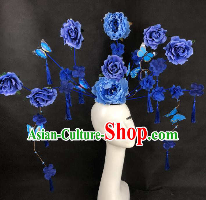 Chinese Traditional Palace Exaggerated Headdress Catwalks Blue Peony Hair Accessories for Women