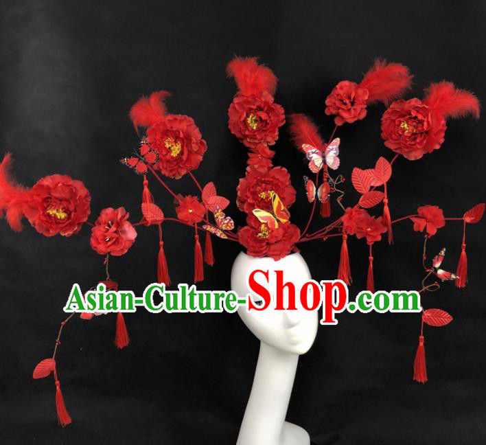 Chinese Traditional Palace Exaggerated Headdress Catwalks Red Peony Hair Accessories for Women
