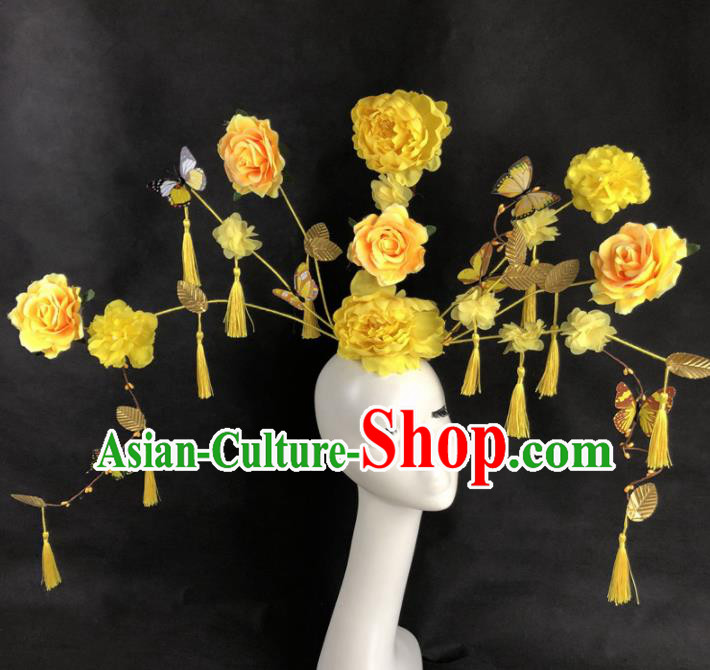 Chinese Traditional Palace Exaggerated Headdress Catwalks Yellow Peony Hair Accessories for Women