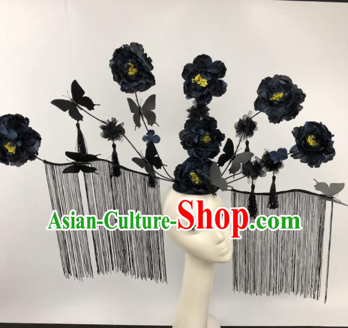 Chinese Traditional Palace Exaggerated Headdress Catwalks Black Peony Hair Accessories for Women