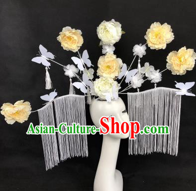 Chinese Traditional Palace Exaggerated Headdress Catwalks White Peony Hair Accessories for Women