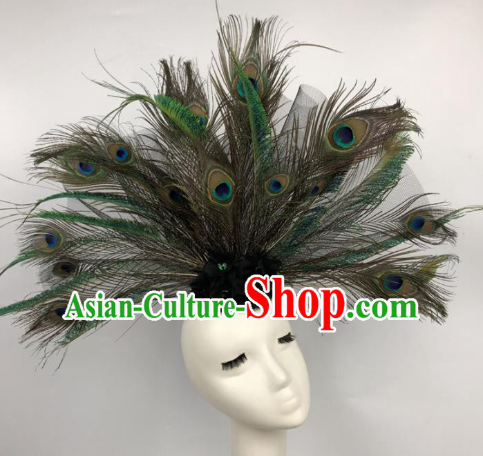 Top Grade Catwalks Hair Accessories Halloween Cosplay Brazilian Carnival Feather Headdress for Women