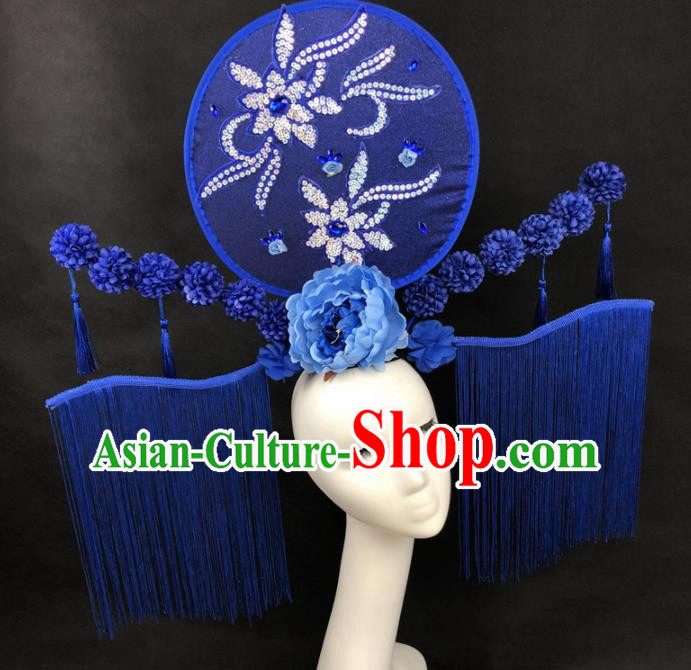 Chinese Traditional Palace Exaggerated Headdress Catwalks Blue Tassel Hair Accessories for Women