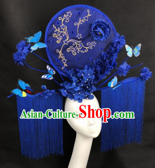 Chinese Traditional Palace Exaggerated Headdress Catwalks Blue Butterfly Tassel Hair Accessories for Women
