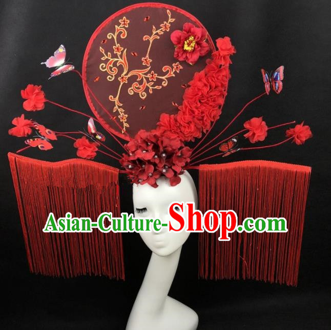 Chinese Traditional Palace Exaggerated Headdress Catwalks Red Butterfly Tassel Hair Accessories for Women