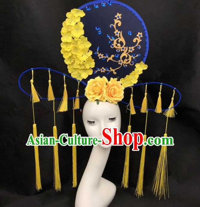 Chinese Traditional Palace Exaggerated Headdress Catwalks Yellow Peony Tassel Hair Accessories for Women
