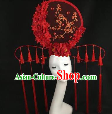 Chinese Traditional Palace Exaggerated Headdress Catwalks Red Wintersweet Tassel Hair Accessories for Women