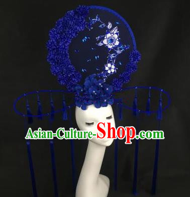 Chinese Traditional Palace Exaggerated Headdress Catwalks Blue Wintersweet Tassel Hair Accessories for Women