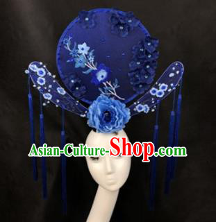 Chinese Traditional Palace Exaggerated Headdress Catwalks Blue Peony Embroidered Hair Accessories for Women