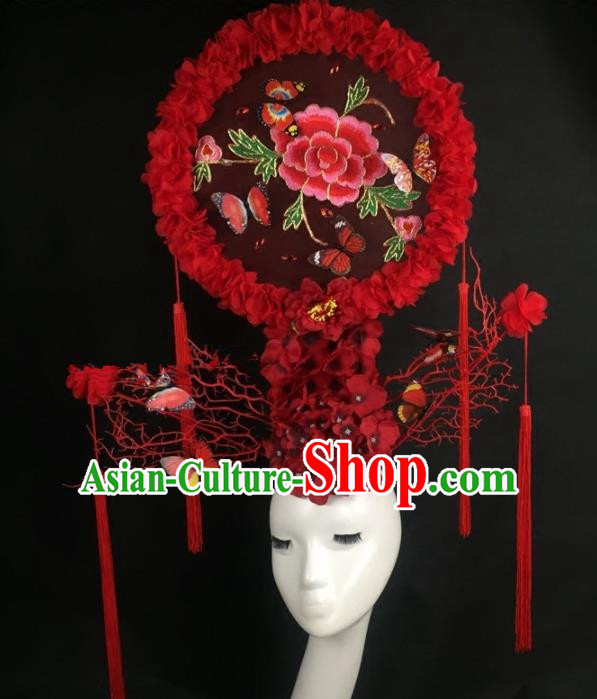 Chinese Traditional Palace Exaggerated Headdress Embroidered Red Peony Catwalks Hair Accessories for Women