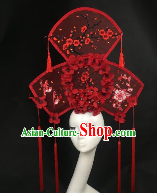 Chinese Traditional Palace Exaggerated Headdress Embroidered Plum Blossom Red Catwalks Hair Accessories for Women