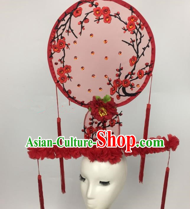 Chinese Traditional Palace Exaggerated Headdress Embroidered Red Plum Blossom Catwalks Hair Accessories for Women