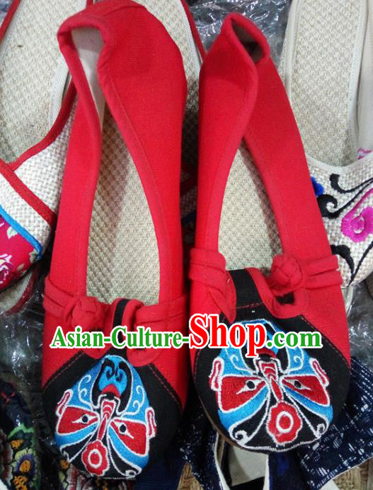 Chinese Traditional Handmade Embroidered Shoes Red Cloth Shoes for Women