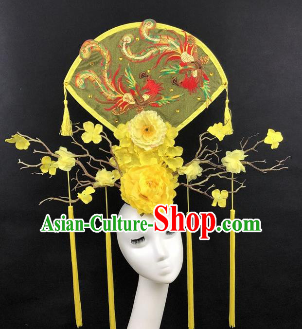 Chinese Traditional Palace Exaggerated Headdress Embroidered Phoenix Yellow Peony Catwalks Hair Accessories for Women