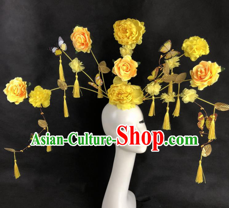 Chinese Traditional Palace Exaggerated Headdress Yellow Peony Catwalks Hair Accessories for Women