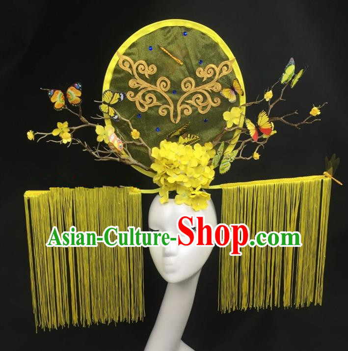 Chinese Traditional Palace Exaggerated Headdress Yellow Tassel Catwalks Hair Accessories for Women