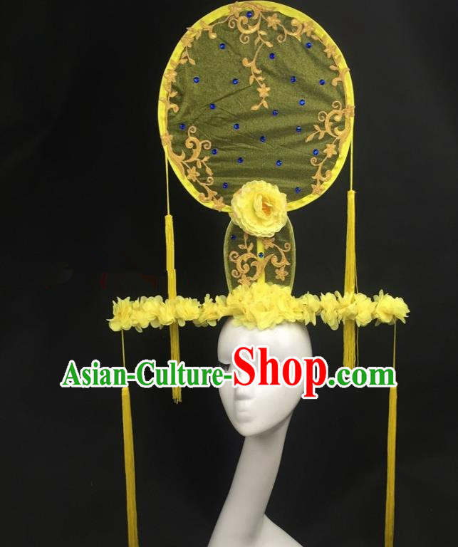 Chinese Traditional Exaggerated Headdress Yellow Peony Palace Catwalks Hair Accessories for Women