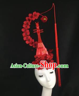 Chinese Traditional Exaggerated Headdress Palace Catwalks Red Flowers Lute Hair Accessories for Women