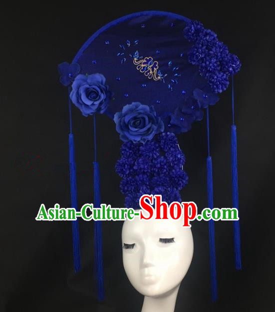 Chinese Traditional Exaggerated Headdress Palace Catwalks Blue Peony Hair Accessories for Women