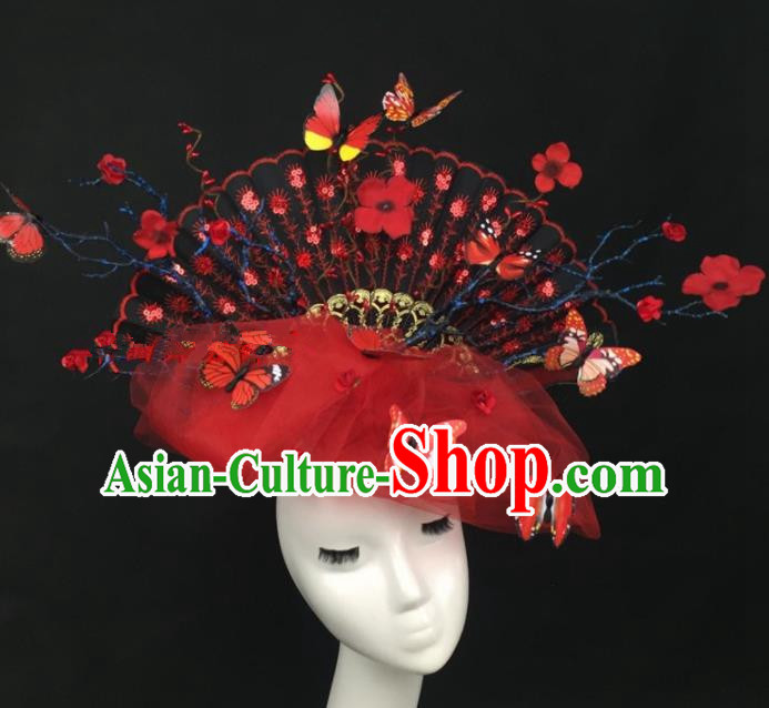 Chinese Traditional Exaggerated Headdress Palace Catwalks Red Veil Butterfly Hair Accessories for Women