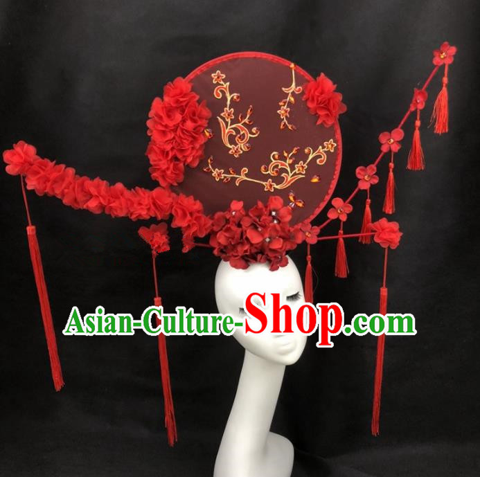 Chinese Traditional Exaggerated Headdress Palace Catwalks Red Flowers Hair Accessories for Women