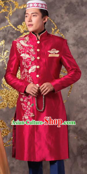 Chinese Ethnic Wedding Costumes Traditional Hui Nationality Bridegroom Red Clothing for Men