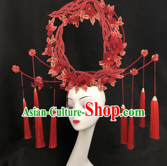 Chinese Traditional Exaggerated Headdress Ancient Catwalks Embroidered Red Peony Hair Accessories for Women