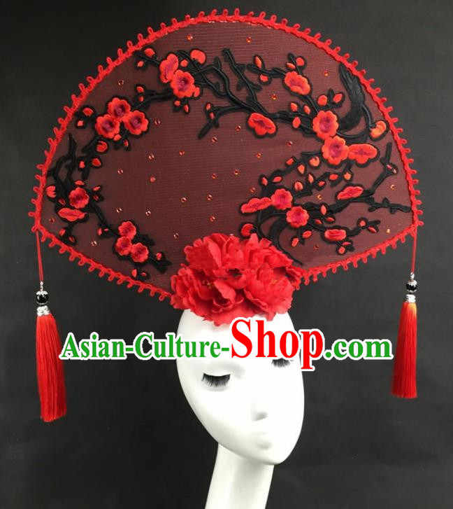 Chinese Traditional Catwalks Exaggerated Headdress Palace Red Wintersweet Hair Accessories for Women