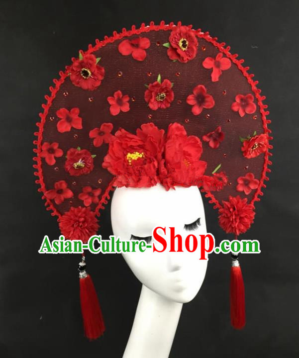 Chinese Traditional Catwalks Exaggerated Headdress Palace Red Peony Hair Accessories for Women