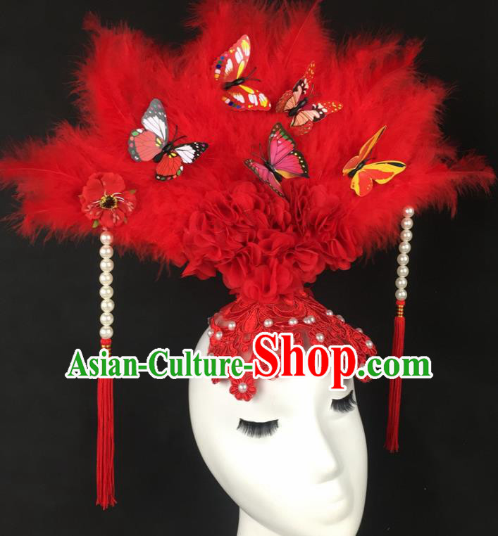 Chinese Traditional Catwalks Exaggerated Headdress Palace Red Feather Hair Accessories for Women